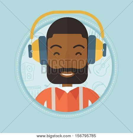 An african-american cheerful man listening to music on background with music icons. Man in headphones enjoying his favourite music. Vector flat design illustration in the circle isolated on background