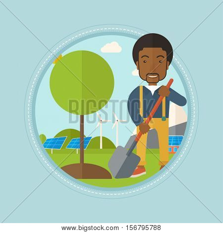 African man plants a tree. Man standing with shovel near newly planted tree on the background of wind turbines and solar panels. Vector flat design illustration in the circle isolated on background.