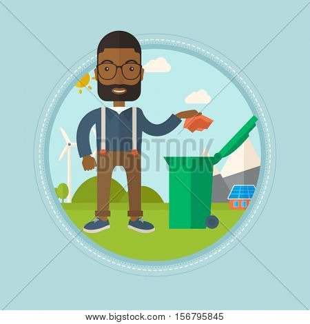 An african-american man throwing away a piece of paper in a green trash bin on the background of solar panels and wind turbines. Vector flat design illustration in the circle isolated on background.