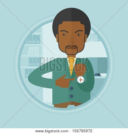 An african angry businessman pointing at his wrist watch because employee is late for work. Concept of late for work and deadline. Vector flat design illustration in the circle isolated on background.