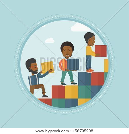 African-american business people building stairs of career ladder. Businessmen climbing up career ladder. Business career concept. Vector flat design illustration in the circle isolated on background.