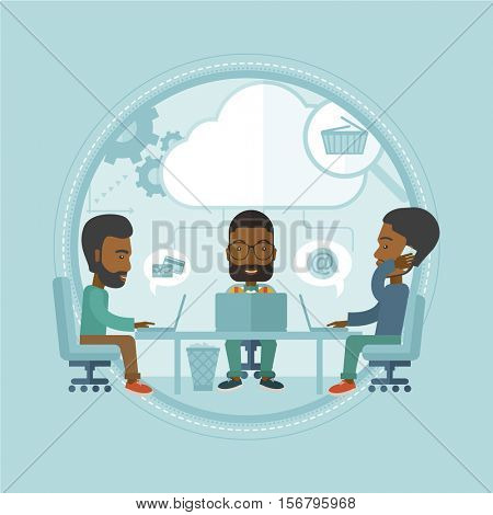 An african-american business people brainstorming. Business team using laptops during brainstorming process. Brainstorming concept. Vector flat design illustration in the circle isolated on background