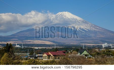 Beautiful View Mt. Fuji With Snow