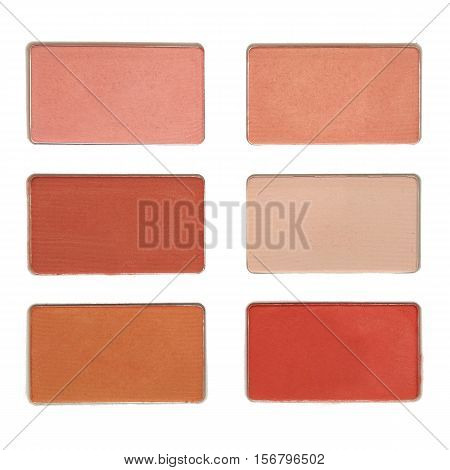 Make-up. Powder compact. Top view. Isolation on a white background. Clipping path.