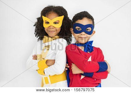 Superhero Adolescence Child Kid Expertise Concept