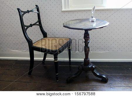 Jane Austen Original Writing Table. Chawton House. England.