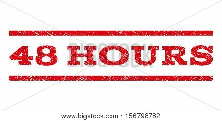 48 Hours watermark stamp. Text tag between parallel lines with grunge design style. Rubber seal stamp with unclean texture. Vector red color ink imprint on a white background.