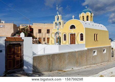 FIRA, GREECE - NOVEMBER 06, 2016: Buildings of the Folklore Museum in Fira, Santorini on November 06, 2016.