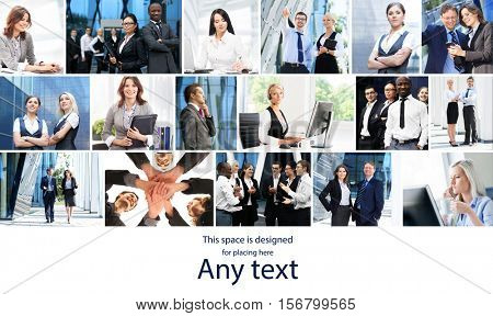 Business collage. Set of photos about different business situations with copy space.