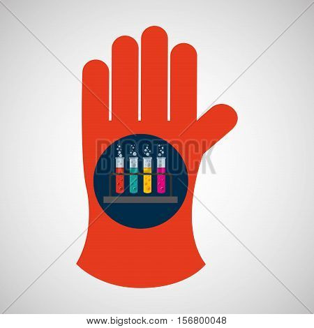 chemical glove with test tube rack icon vector illustration eps 10