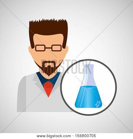 male scientist laboratory beaker icon vector illustration eps 10