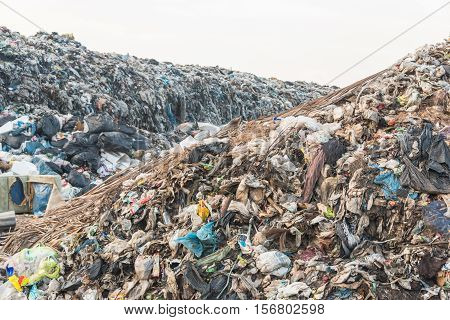 Landfill in city,Waste and toxic for environment