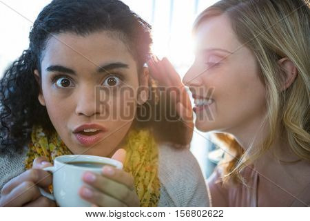 Woman whispering a secret into her friends ear while having coffee in cafeteria