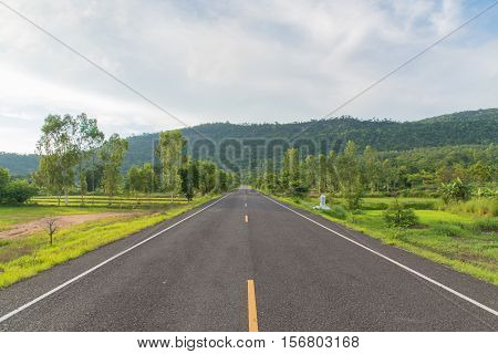 Summer country road,Curving road between fields and trees,Asphalt road and forest