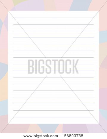 lined notebook sheet in pale soft stains purple frame