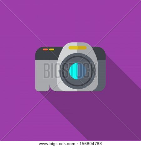Vector illustration or icon of professional photo camera in flat style with long shadow