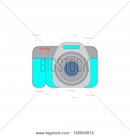 Vector illustration or icon of professional photo camera in outline style with noisy background