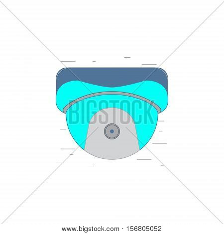 Vector illustration or icon of security camera in outline style with noisy background