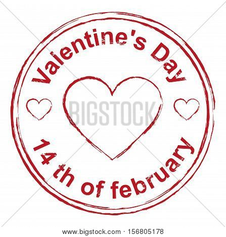 14th February Valentines Day. Red stamp imprint heart shape. Isolated on white vector illustration
