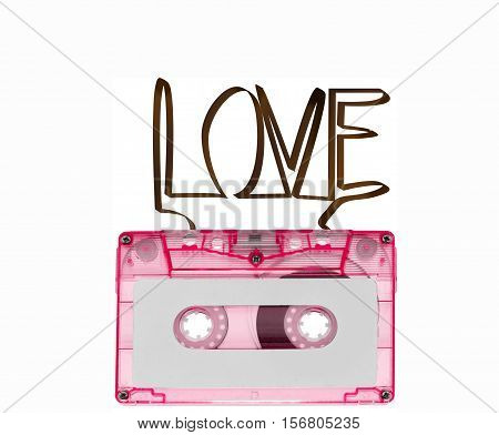 Cassette Tabe For Music Reccord In Love Concept