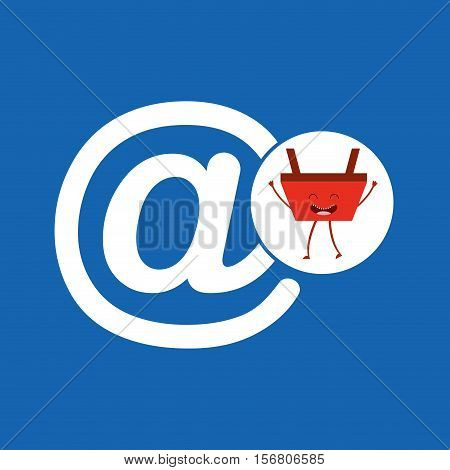 basket red commerce email mail icon vector illustration eps 10