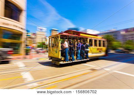 Motion Blur San Francisco Cable Car Union Square