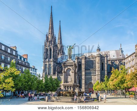 CLERMONT FERRAND,FRANCE - SEPTEMBER 1,2016 - Victoire place in Clermont Ferrand. Clermont Ferrand is a city and commune in the Auvergne region of France.