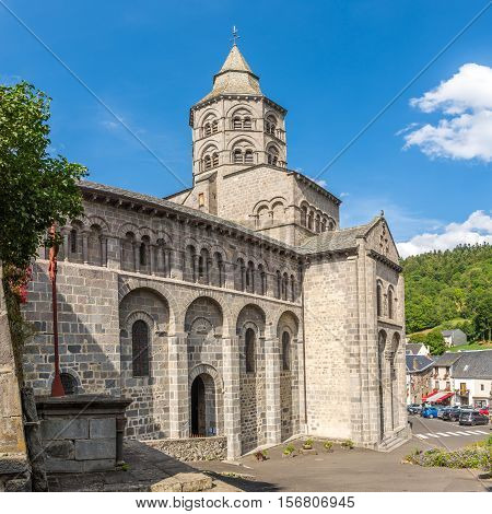 ORCIVAL,FRANCE - SEPTEMBER 1,2016 - Basilica of Notre Dame All About Mary in Orcival. Orcival is a commune in the Puy-de-Dome department in Auvergne in central France.