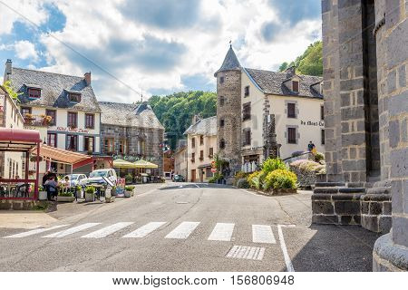ORCIVAL,FRANCE - SEPTEMBER 1,2016 - In the streets of Orcival. Orcival is a commune in the Puy-de-Dome department in Auvergne in central France.