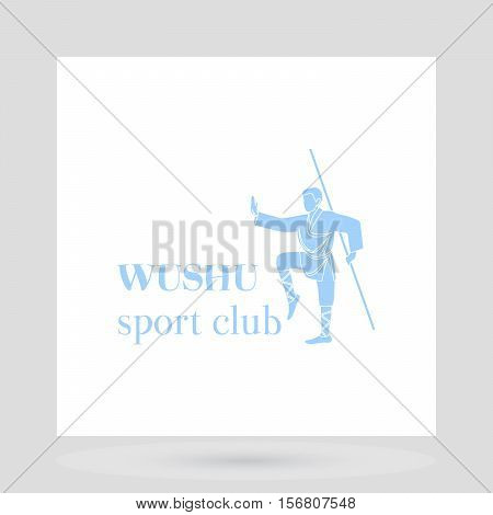 Fight club logo design presentation. Wushu man symbol on white background. Vector illustration