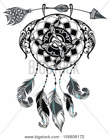 Indian Dream catcher. Design illustration. Dream cather for your design