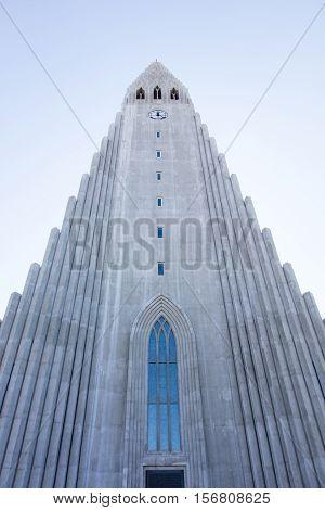 Hallgrimskirkja cathedral in reykjavik iceland, large tower