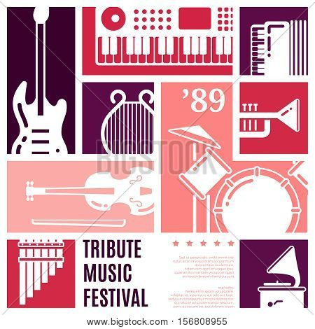 Music festival abstract vector background. Music instrument flat, background poster with classical instrument for concert illustration