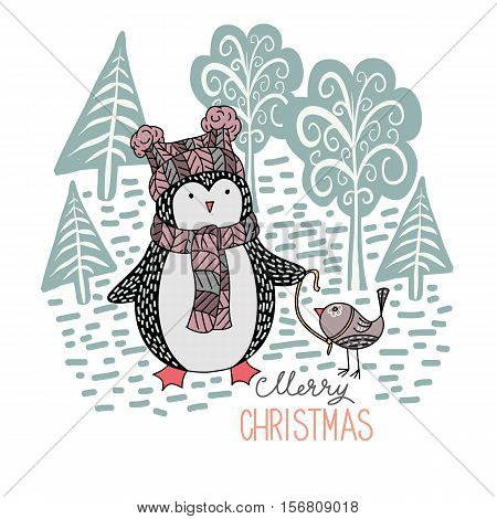 Cute hand drawn penguin with a little bird on a leash in the winter forest - Merry Christmas greetings