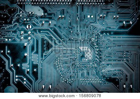Macro shot of a circuit board techno background