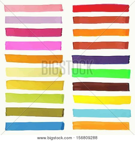 Bright highlight brightly scribble banner, stylish borderline marks, marker strokes vector set. Colored borderline set, illustration of marker borderline