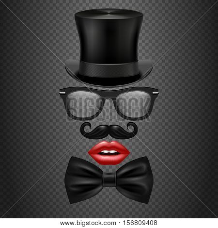 Mustache, bow tie, glasses, red girl lips and cylinder hat. realistic vector hipster photo booth props. Accessory gentleman mister for photo booth illustration