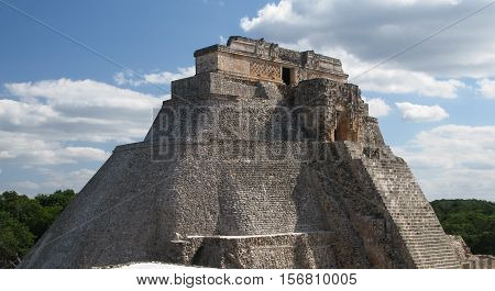Pyramid of Magician in the old city of Uxmal Mexico