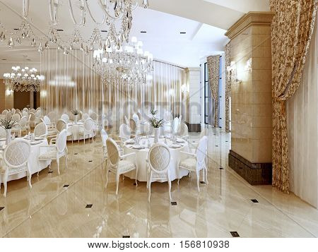 Grand Restaurant And A Ballroom In A Luxury Hotel.