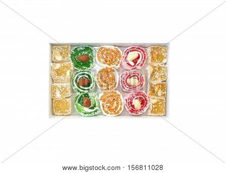 Turkish delight in a box on white background