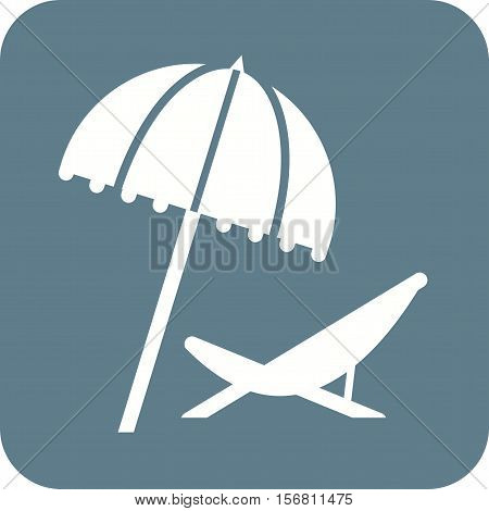 Deck, beach, chair icon vector image. Can also be used for travel. Suitable for use on web apps, mobile apps and print media.