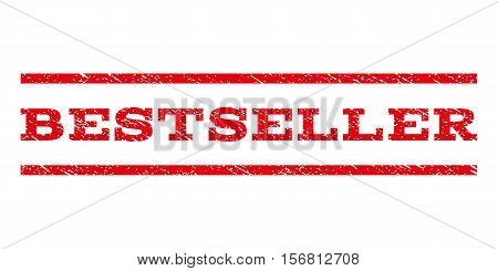 Bestseller watermark stamp. Text tag between parallel lines with grunge design style. Rubber seal stamp with dirty texture. Vector red color ink imprint on a white background.