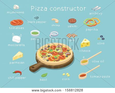 Vector isometric set of ingredients to build custom tasty pizza, 3d flat food icons, tomatoes, mushrooms, mozzarella, peppers, shrimp, salami, cheese, olives, ham, pesto. Delivery pizza service