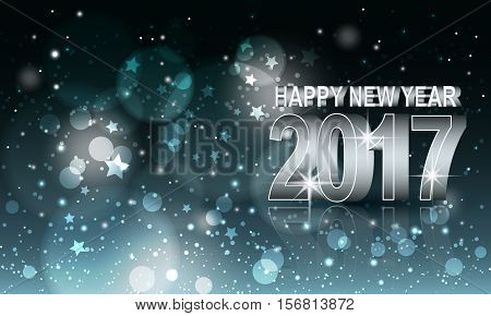 Happy New Year vector abstract blurred background. Year 2017.