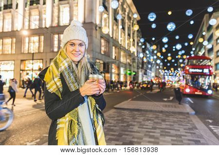 Beautiful Young Woman In London On Winter