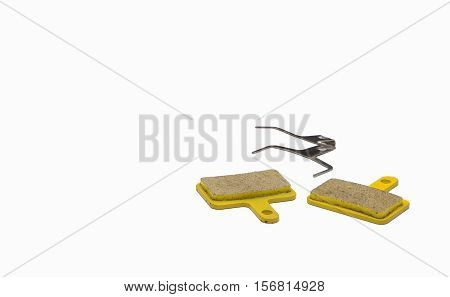 Bicycle hydraulic brakes pads isolated on white background