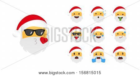 Set of holiday emoji. Vector illustration on white background.