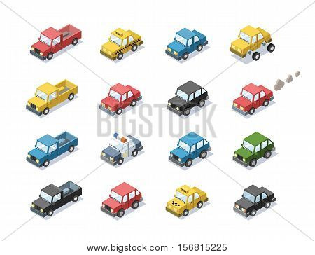Vector isometric set of city passenger transport, car, taxi, police, minivan, cat with exhaust, 3D flat design, cartoon cute car icons