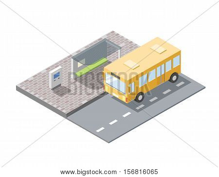 Vector isometric illustration of bus station with ticket sell terminal, city public transport road element, 3d flat design, school bus icon