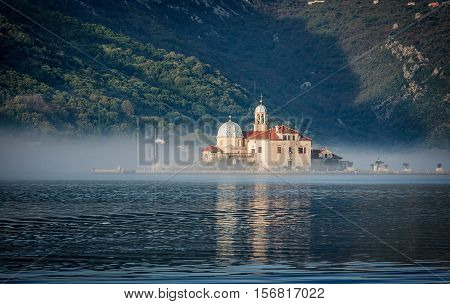 Our Lady of the Rocks Church on the Island near Perast in the Bay of Kotor Montenegro